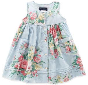 Ralph Lauren Mixed Floral Dress, Blue Multi, 9-24 Months