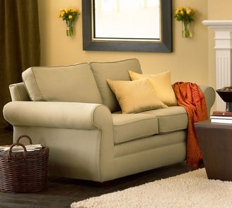 Pottery Barn Pearce Love Seat - everydaysuede &