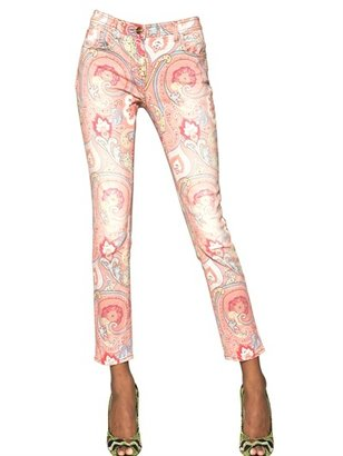 Etro Printed Cotton Denim Jeans
