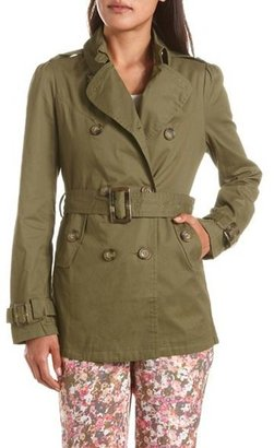 Charlotte Russe Double Breasted Cotton Trench Coat