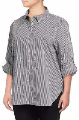 Calvin Klein Plus Striped Roll-Sleeve Blouse