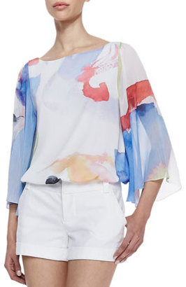 Alice + Olivia Josie Printed Butterfly-Sleeve Blouse