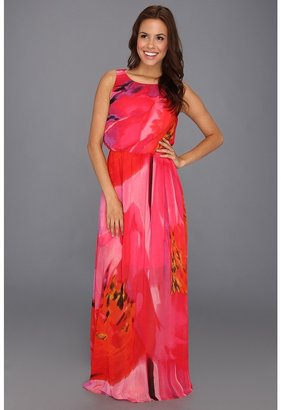 Vince Camuto Watercolor Printed Maxi Dress with Draped Back (Coral) - Apparel