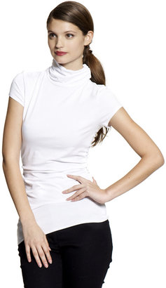Vince Camuto Ruched Scrunch Neck Tee White