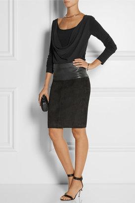 Donna Karan Draped stretch-silk crepe de chine and jersey top