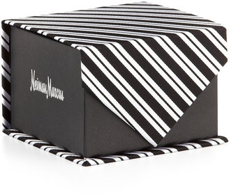 Neiman Marcus Bias Variegated Stripe Silk Tie in Box, Black