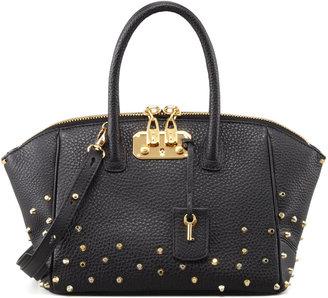 VBH Brera Studded Leather Satchel Bag, Black