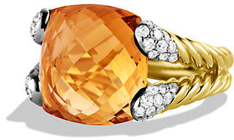 David Yurman Color Cocktail Ring with Hampton Blue Topaz and Diamonds in Gold