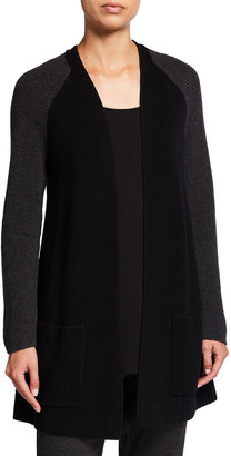 Eileen Fisher Plus Size Colorblock Raglan-Sleeve Wool Cardigan