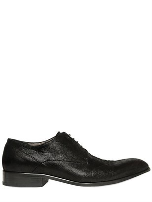 Derby Embossed Suede Lace-Up Shoes