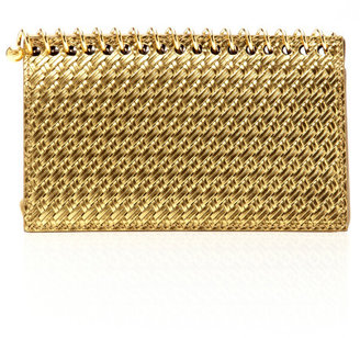 Charlotte Olympia Metallic Leather Notebook Clutch