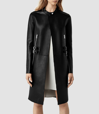 AllSaints Langer Leather Coat