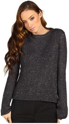 Tibi Metallic Wool Melange Crossback Sweater (Grey Multi) - Apparel