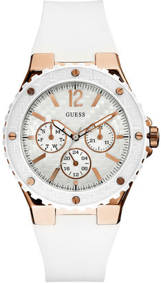 GUESS Watch, Women's White Silicone Strap 40mm U12652L1