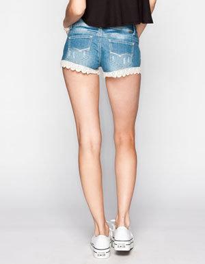 ALMOST FAMOUS Crochet Trim Womens Denim Shorts