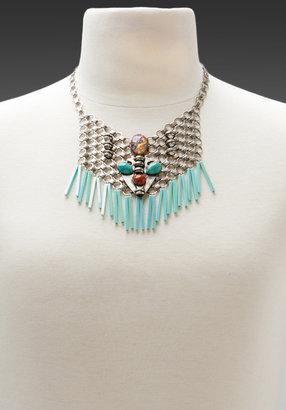 Dannijo Vida Bib in Ox Silver/Turquoise