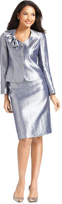 Kasper Suit, Hammered Satin Bow Jacket & Skirt
