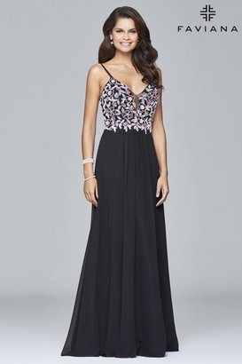 Faviana - s7951 Long fit and flare dress with beaded bodice $318 thestylecure.com