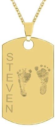 24K Yellow Gold-Plated Sterling Footprint Dog Tag w/ Chain