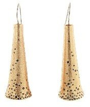 Todd Reed Rose Gold Cone Earrings with Black Diamonds