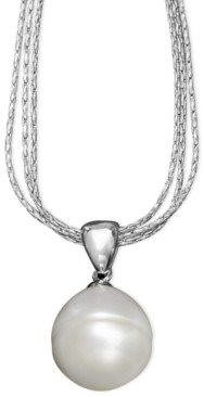 Arabella Cultured Freshwater Pearl Drop Pendant Necklace in Sterling Silver (12mm)
