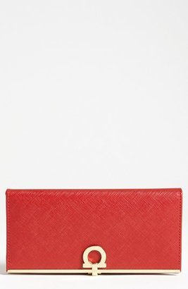 Women's Salvatore Ferragamo Saffiano Leather Wallet - Red $595 thestylecure.com