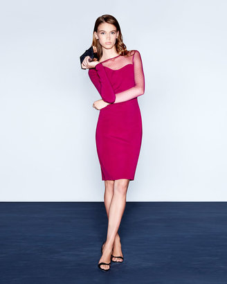 Halston Mesh-Illusion Ponte Sheath Dress