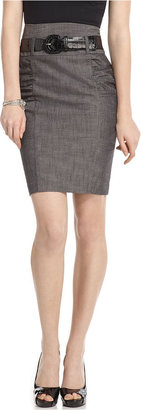 Amy Byer Juniors Skirt, Chambray High Waist Ruched Belted Pencil