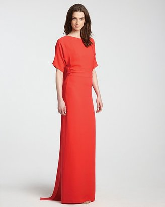 Halston Gown - Elbow Sleeve with Draped Back