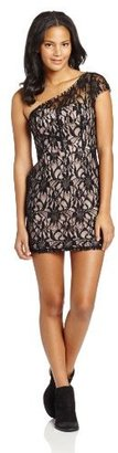 Adrianna Papell Hailey Logan by Juniors One Shoulder Cap Sleeve Lace Dress