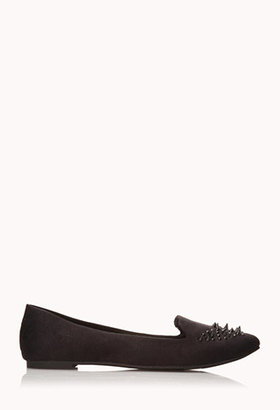 Forever 21 Spiked Out Faux Suede Loafers