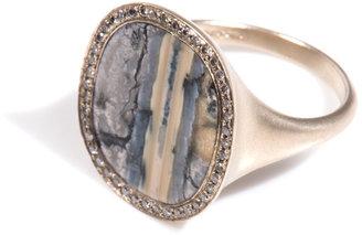 Monique Péan Diamond, fossilised mammoth & gold ring
