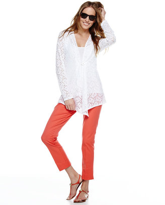 Neiman Marcus Embroidered Lace Front Cardigan, White