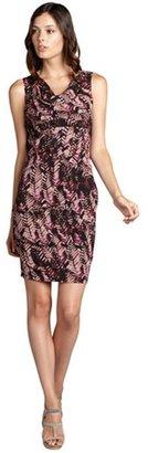 Andrew Marc New York purple and black patterned stretch silk draped neck sleeveless dress