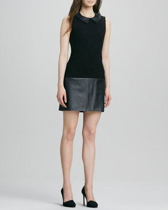 Rachel Zoe Dallas Collared Leather-Combo Shift Dress