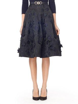 Oscar de la Renta Full Skirt With Embroidered Flowers