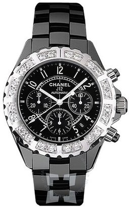 Chanel J12 Black Ceramic Diamond Chronograph Automatic Men's Watch