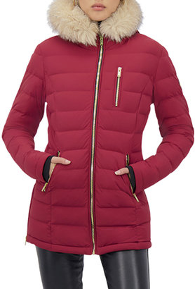 Moose Knuckles Roselawn 2 Hooded Down Jacket with Fur Ruff