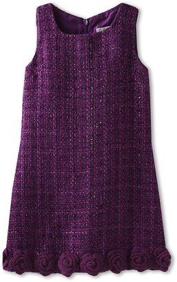 Us Angels Sparkle Boucle Hem Detail Dress (Little Kids) (Berry/Grey Ribbon) - Apparel
