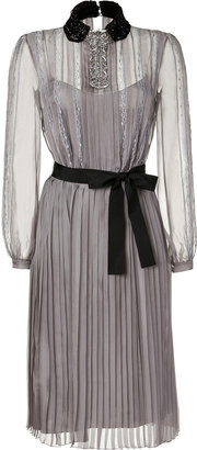 Alberta Ferretti Silver Grey Sequin Embellished Belted Silk Chiffon Dress