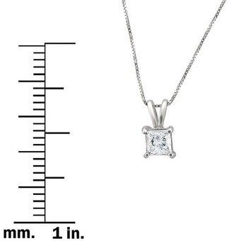 Diamond 3/4 CT. T.W. Princess Cut Solitaire Prong Set Pendant in 14K White Gold (H-I, I1-I2)
