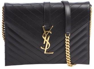 Saint Laurent black leather logo clasp detail shoulder bag