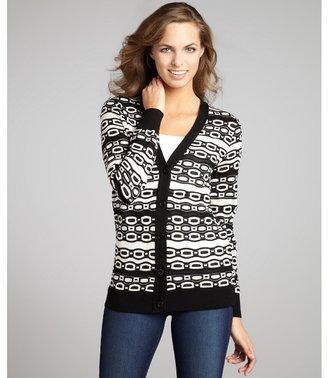 M Missoni orange and black cotton blend patterned cardigan