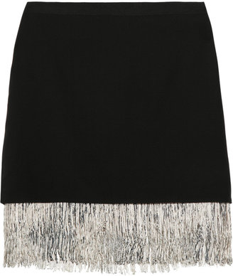 Elizabeth and James Fitzgerald fringed silk-crepe mini skirt