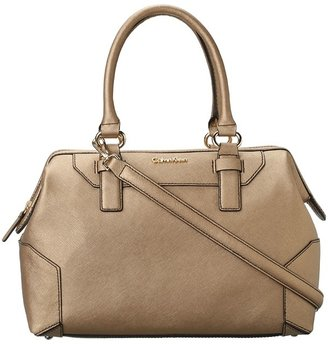 Calvin Klein Panama Saffiano LT Satchel (Gold) - Bags and Luggage