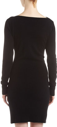 Neiman Marcus Cashmere Zip-Pocket Dress, Black