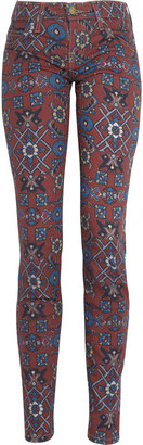 Current/Elliott The Ankle tapestry-print mid-rise skinny jeans