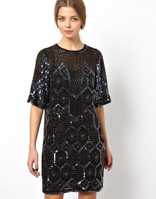 Asos Premium Geo Embellished Mini Dress