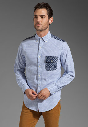 Shades of Grey by Micah Cohen Contrast Check Panel Shirt