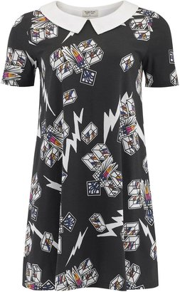 People Tree Zandra Rhodes cubes collar dress